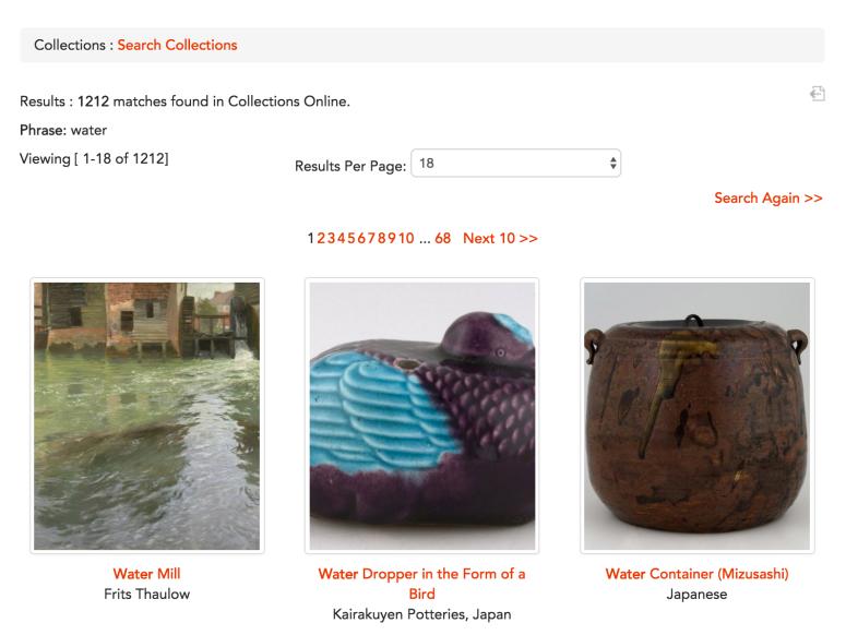 PMA Web Critique - Water Keyword Search